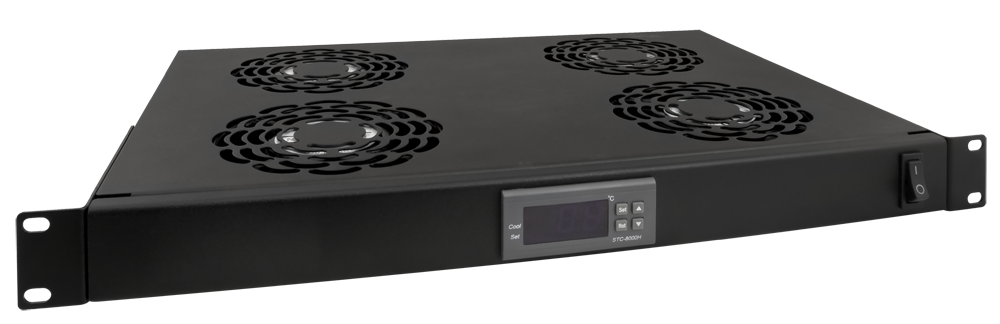 4 Fan Unit With Thermostat For Rack Cabinets 1u Rawp 1r